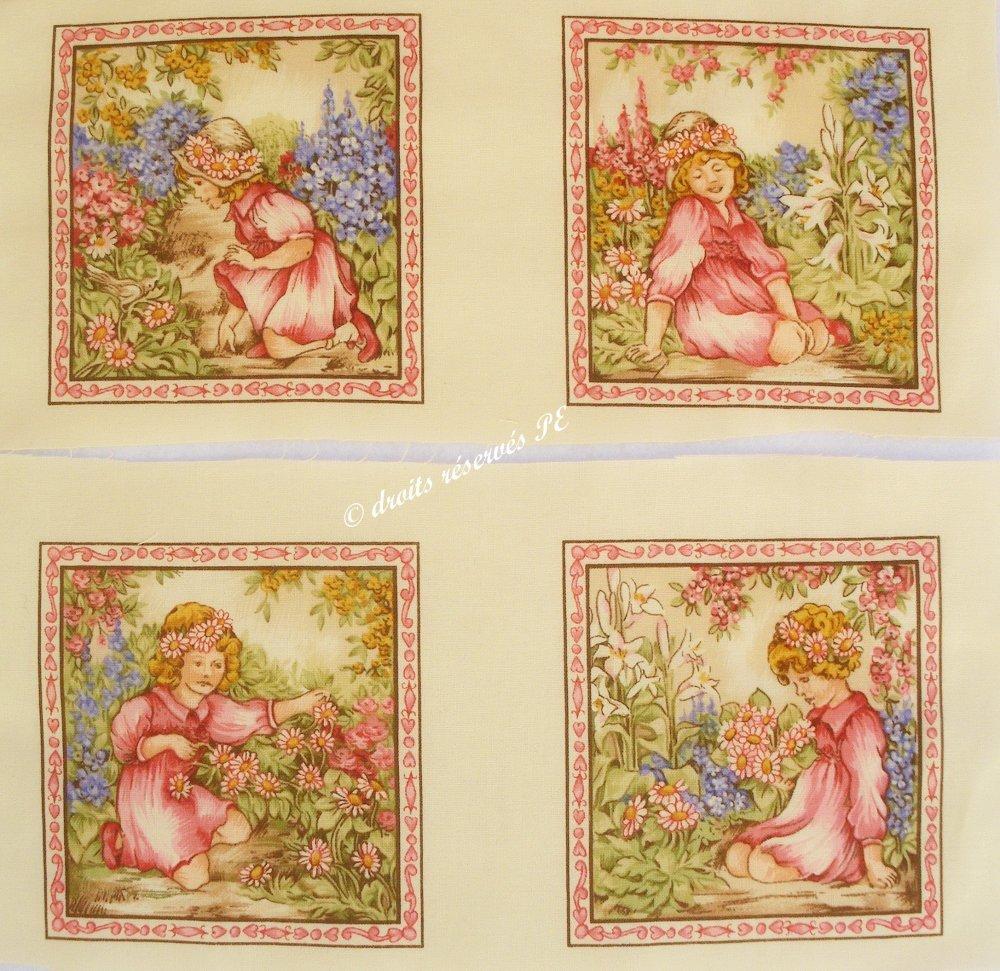 Coupon tissu patchwork 4 vignettes PETITE FILLE n1, pour cartes, appliqué, couture, customisation, décoration