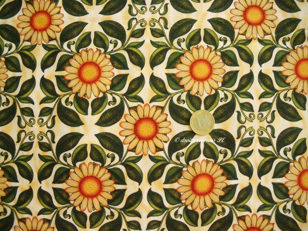 Coupon Tissu Patchwork MARGUERITES, pour coussin, sac, patchwork, loisirs créatifs, couture
