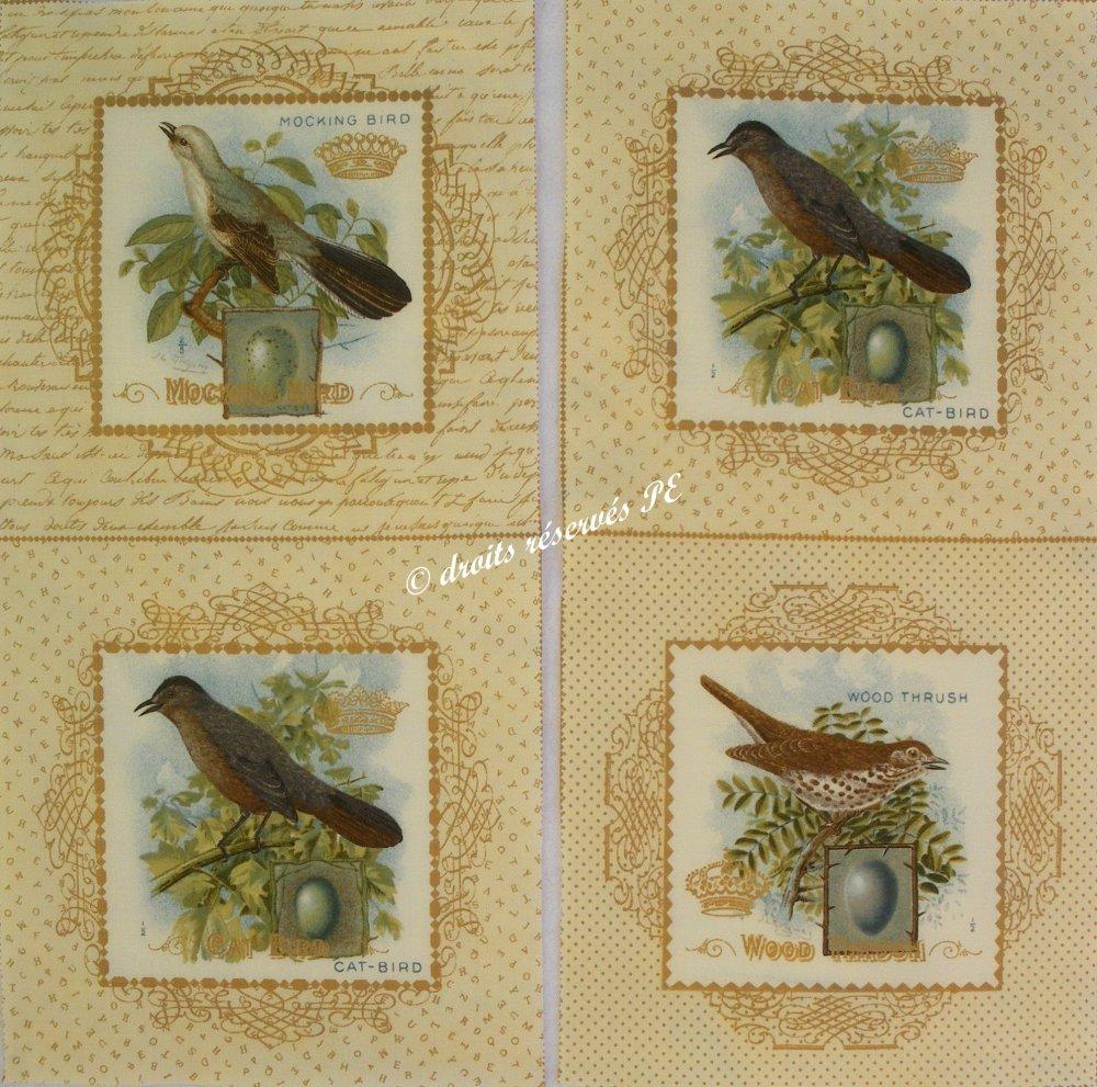 Coupon Tissu patchwork 4 (2 x 2) grandes Vignettes OISEAUX n° 4,  pour coussin, poche, appliqués, couture, customisation, décoration