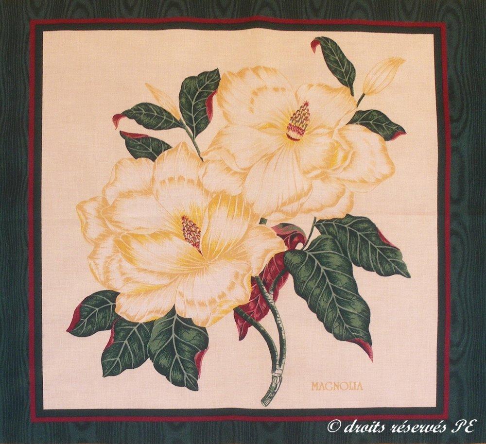 Coupon Tissu Patchwork Panneau  MAGNOLIAS pour coussin, sac, patchwork , couture, quilting,  décoration