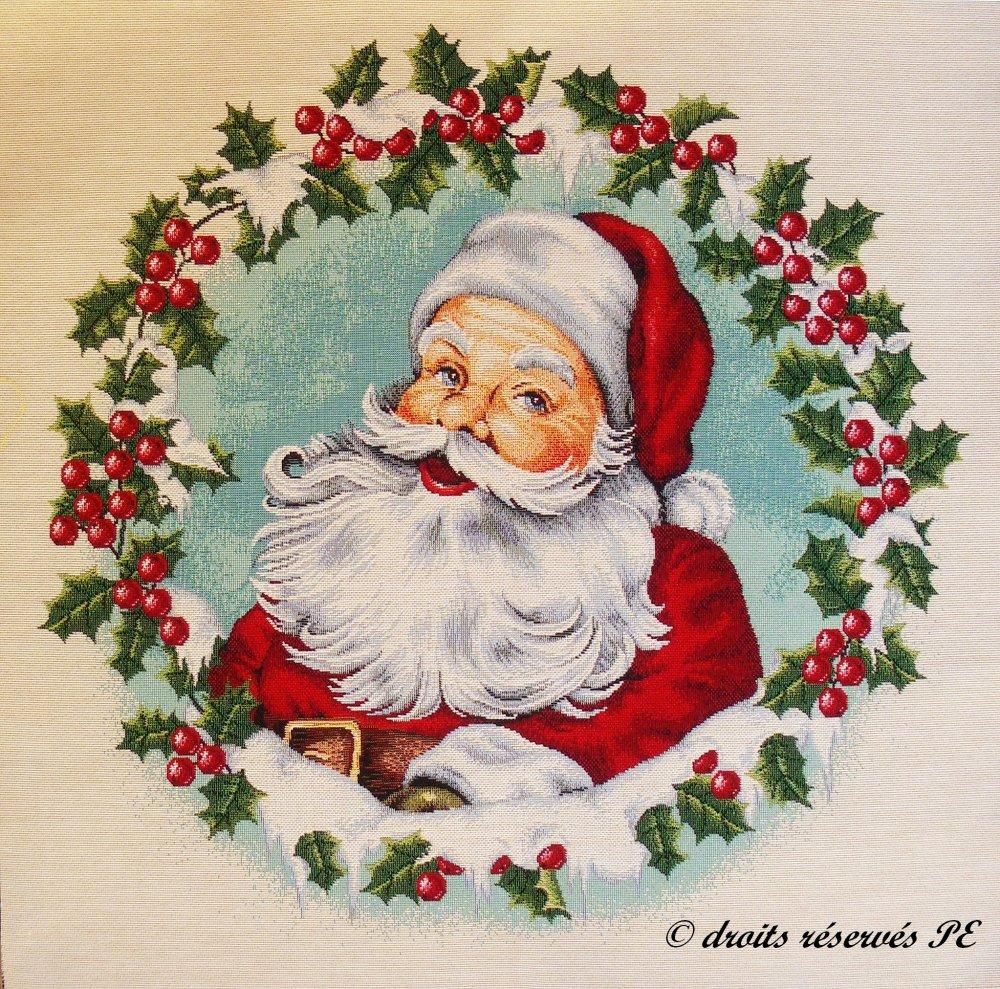 Coupon Tissu Tapisserie Panneau Portrait du PERE NOEL n° 1 , tissu jacquard pour coussin, sac, ameublement, décoration intérieure