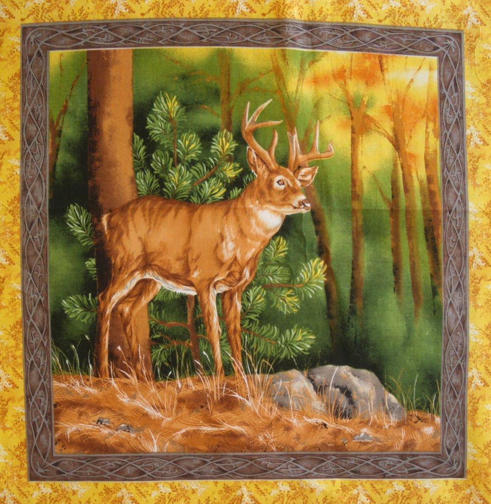 Coupon Tissu Patchwork Vignette Panneau  CERF n° 3, pour coussin, sac, patchwork , couture, quilting,  décoration