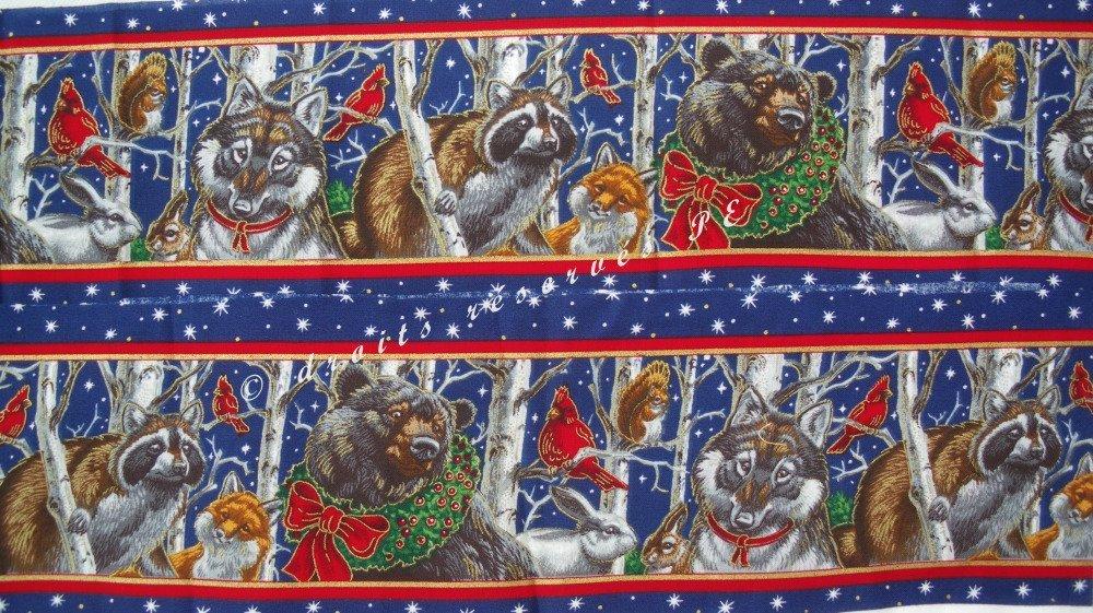 Coupon Tissu Noël Patchwork Appliqués Bande ANIMAUX DE LA FORET décor Noël