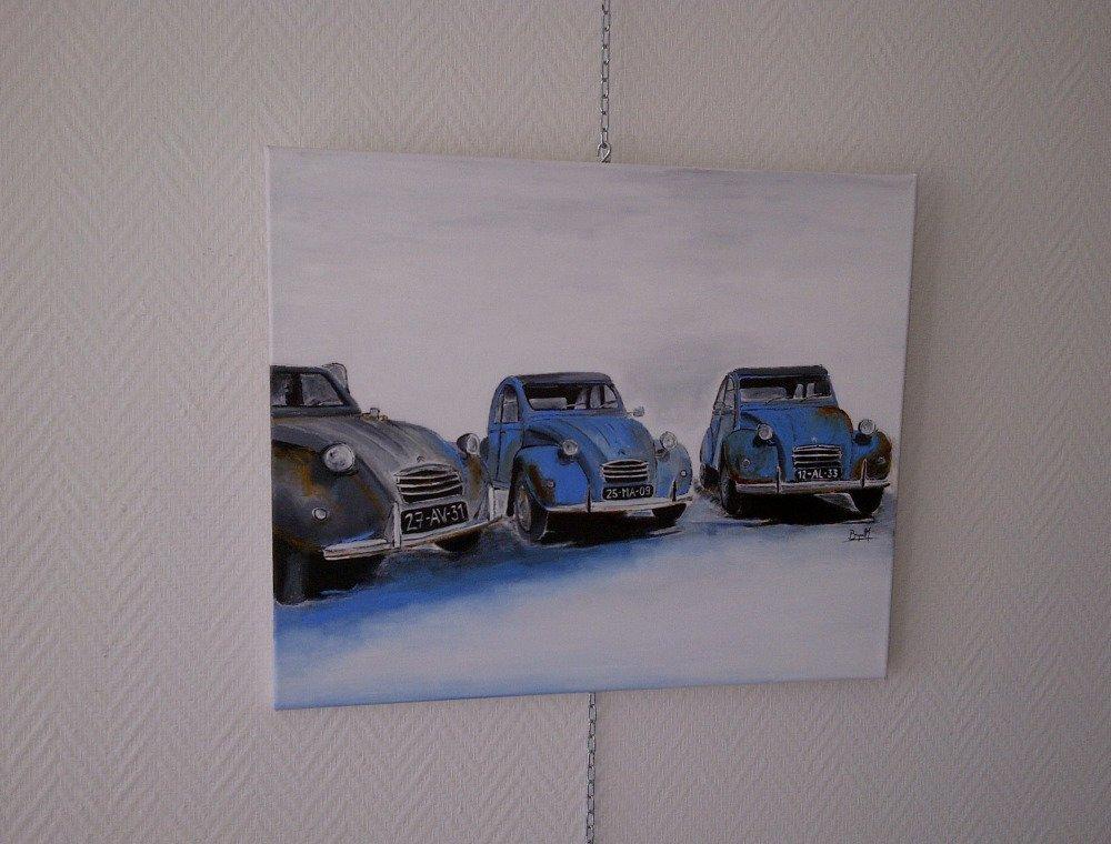 série voiture 2cv huile sur toile 46/55cm