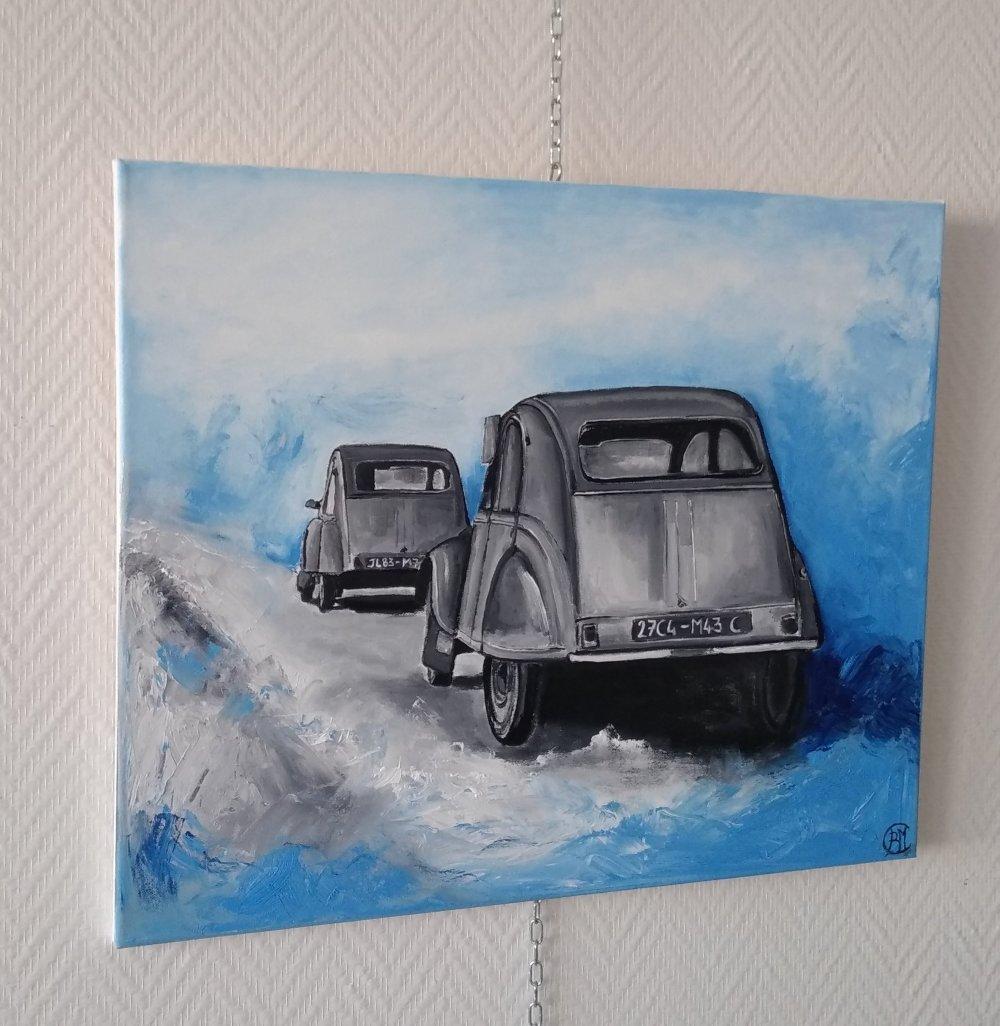 voiture 2cv , peinture sur toile