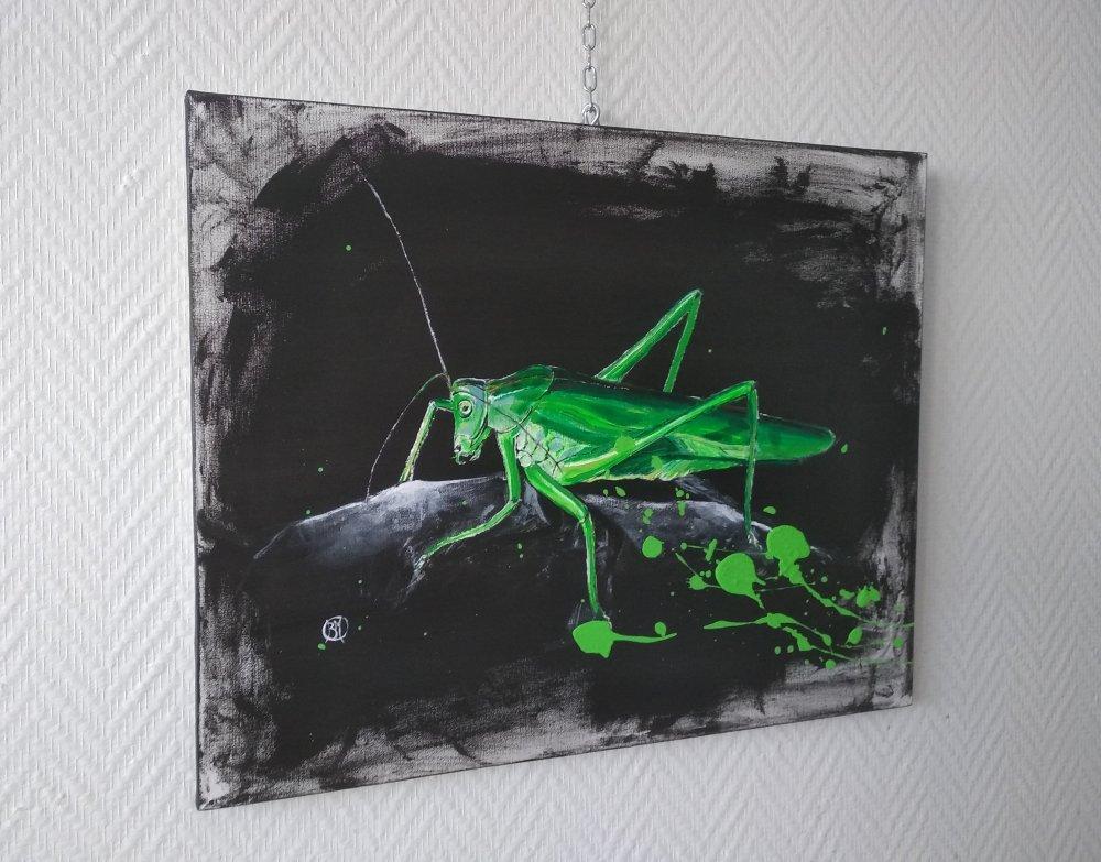 la sauterelle verte  série animaux ,40/50cm acrylic