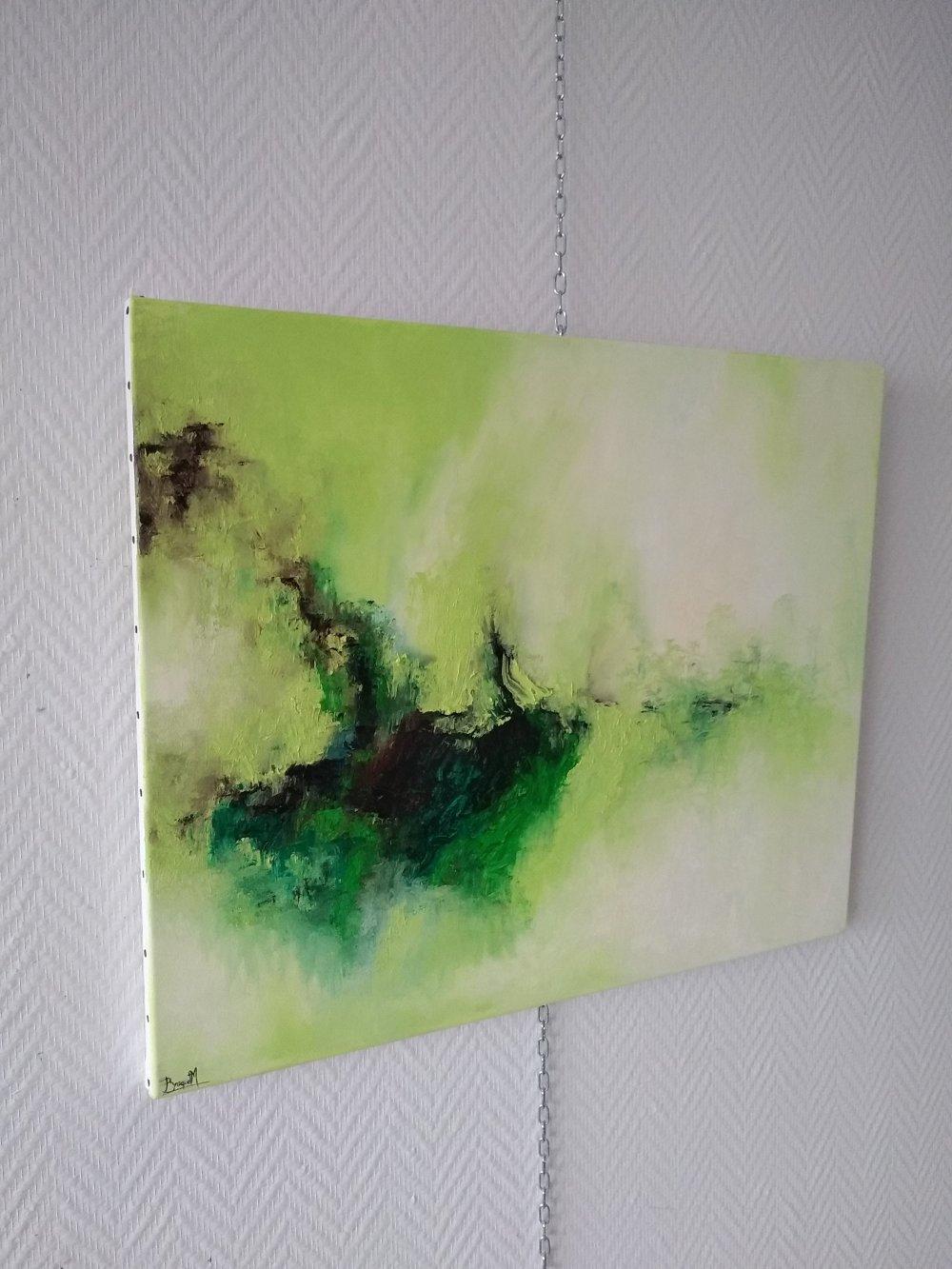 paysage zen abstrait vert blanc ,nature 61/50cm