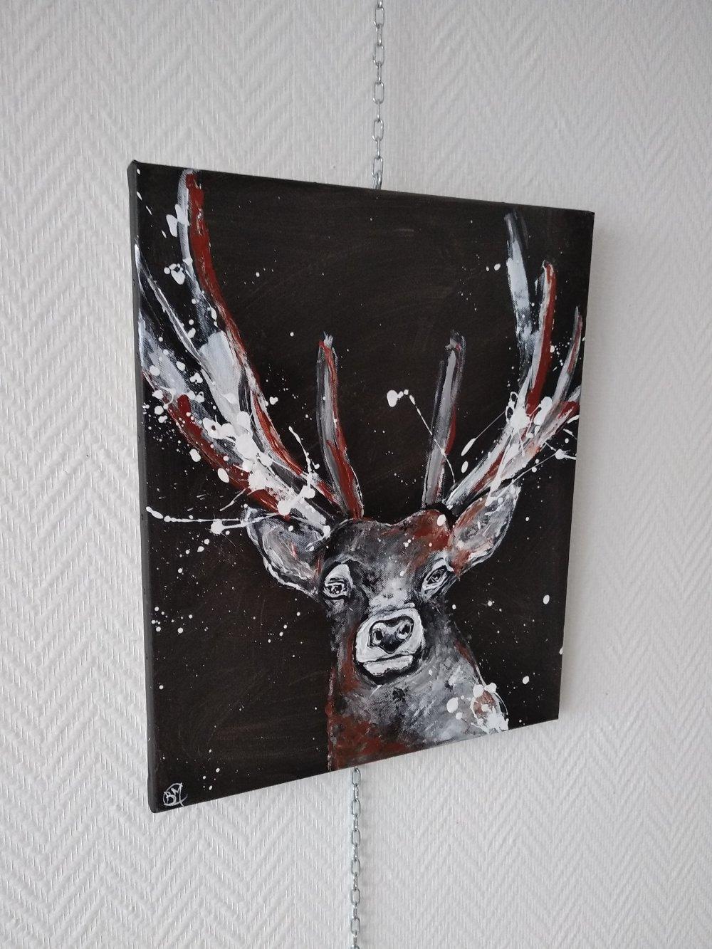 le cerf 38/46cm, série animaux, noir,blanc,marron