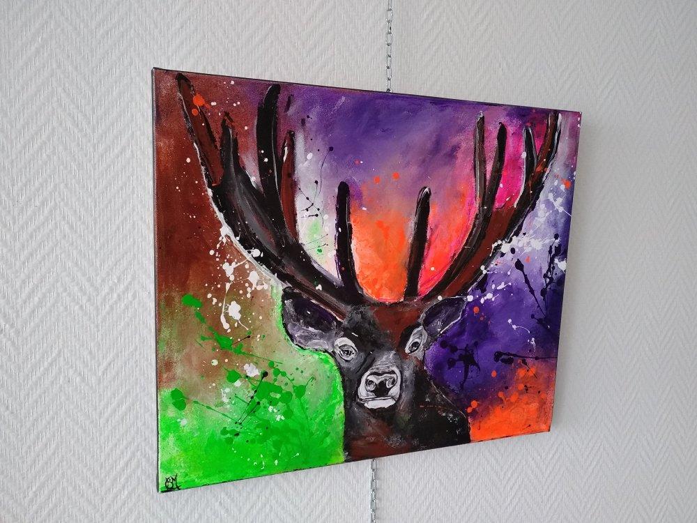 le cerf toile multicolore ,série animaux 55/46cm