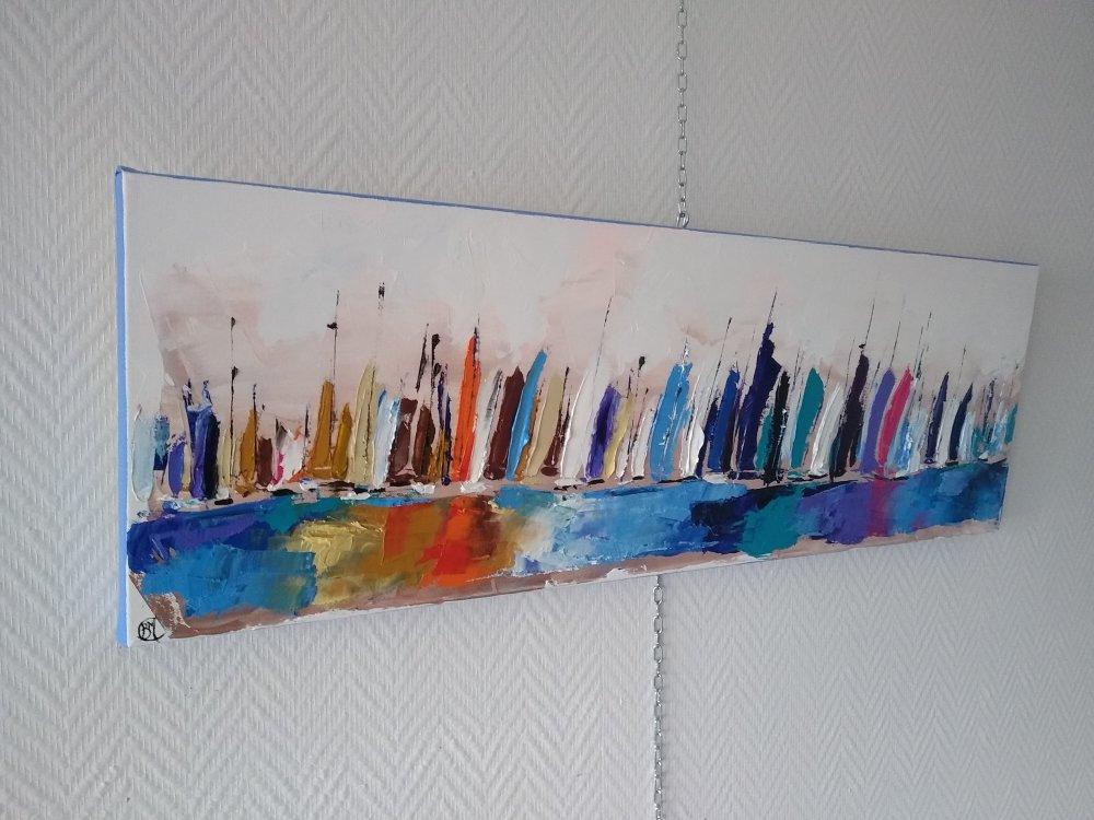 les voiliers,paysage abstrait zen bleu, 90/30cm et 3cm d'épaisseur