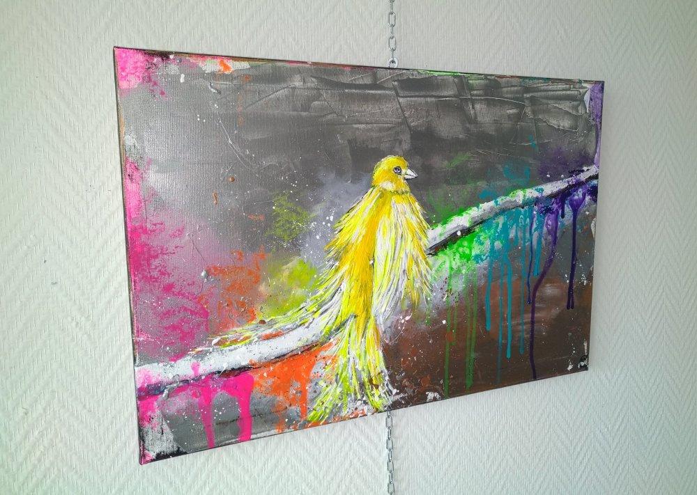 le phoenix jaune, toile multicolore, 40/60cm