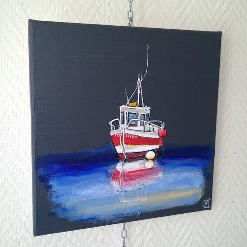 Peinture bateau mer 30/30cm