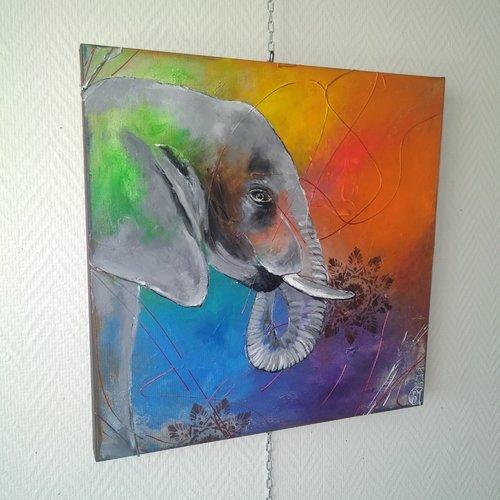 L'éléphant, série animaux ,toile multicolore, 50/50