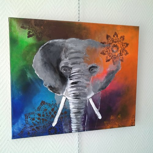 L'éléphant, série animaux, 55/46cm
