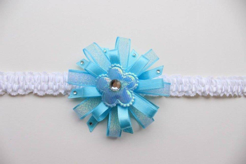 Bandeau Bébé Fleur Bleu Brillant