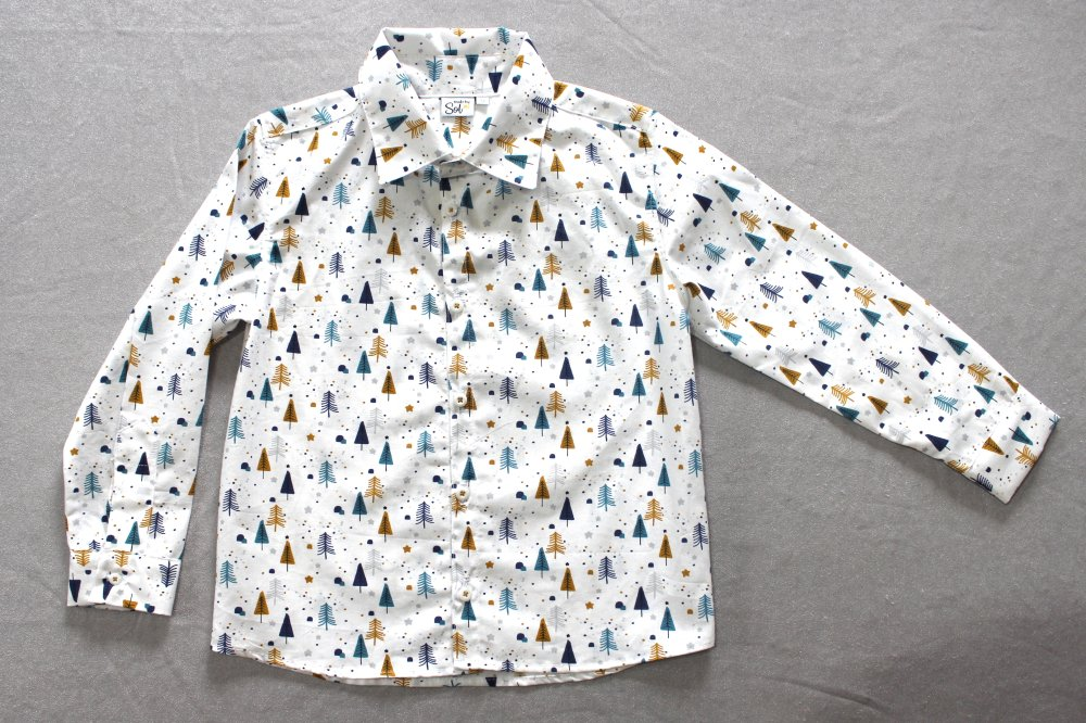 Chemise Enfant Sapins Moutarde, Turquoise