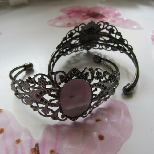 1 support bracelet fleur filigrane en laiton argent antique