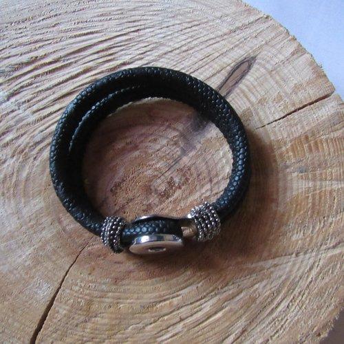 1 support bracelet snap en laiton argent