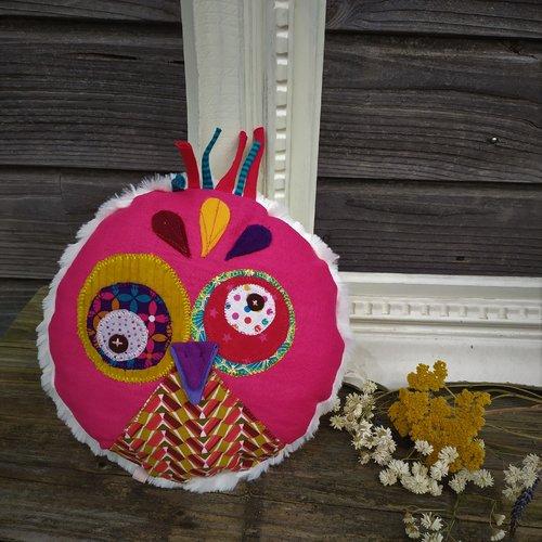 Coussin doudou hibou, coussin décoratif chambre d'enfant