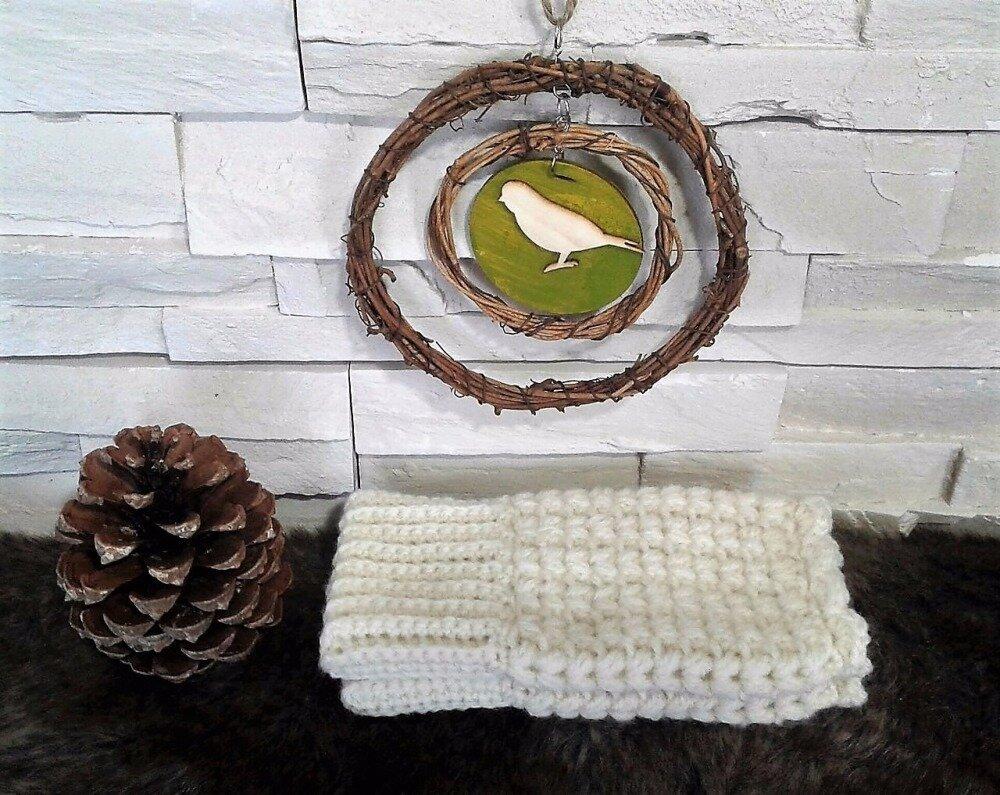 """Mitaines ajourées """"Yarn and Nature"""" en laine écru Fait main"""