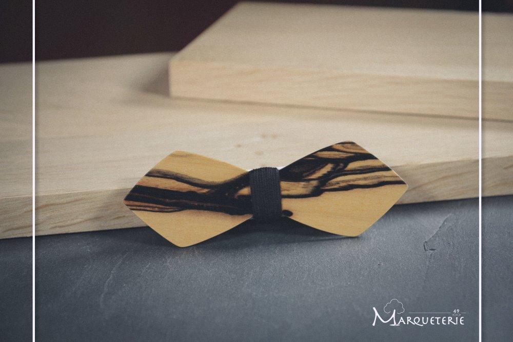 Noeud papillon slim en bois d'ébène blanc
