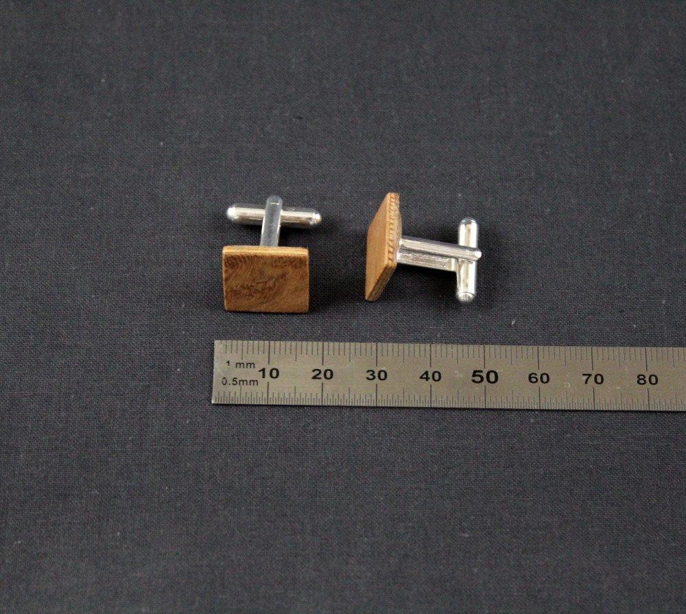 Boutons de manchette carrés en bois loupe d'orme