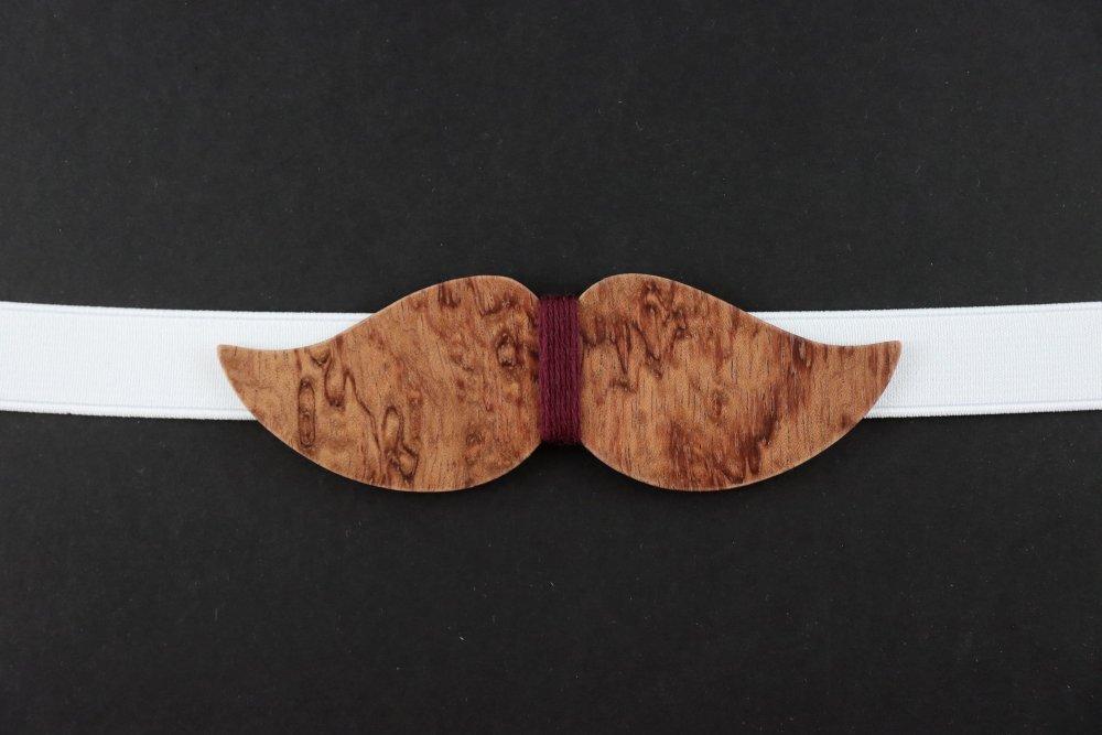 Noeud papillon moustache en bois bordeaux
