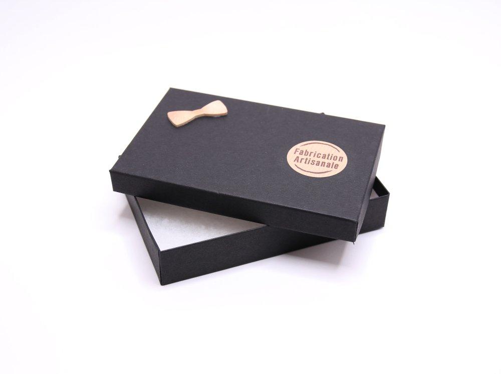 Boite cadeau en carton noir pour noeud papillon en bois/tissu
