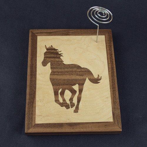 Porte photo - pense bête en marqueterie - cheval