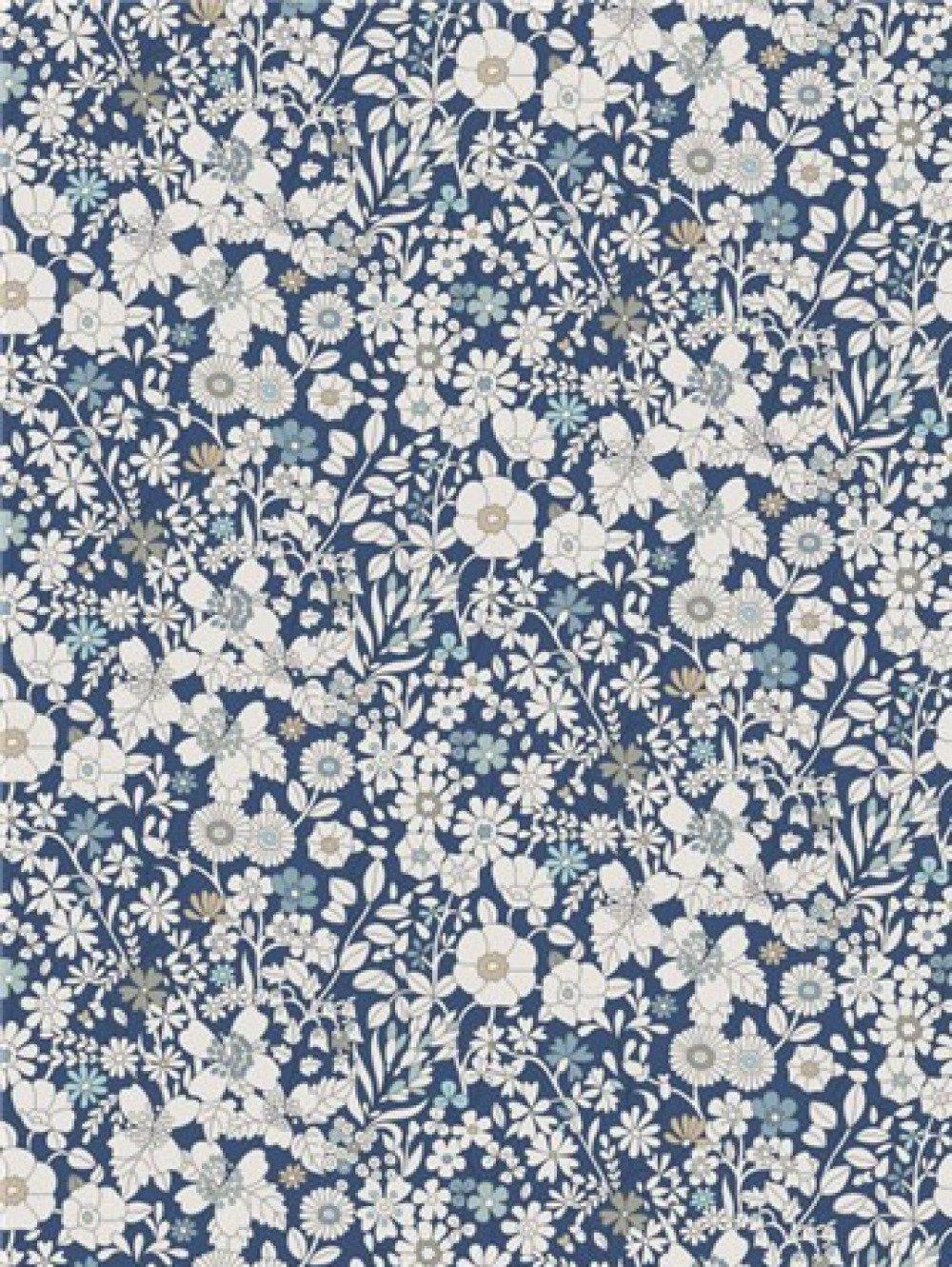 Noeud papillon en bois et tissu liberty anglais Junes's Meadow bleu navy