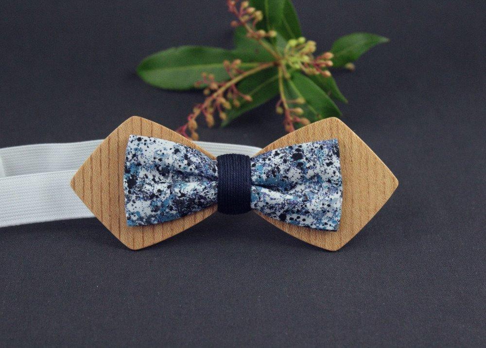 Noeud papillon bois et tissu faux uni bleu marine