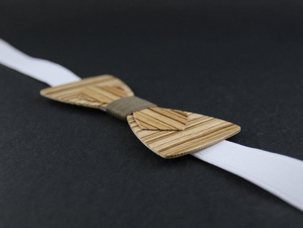 Noeud papillon double en bois rayé