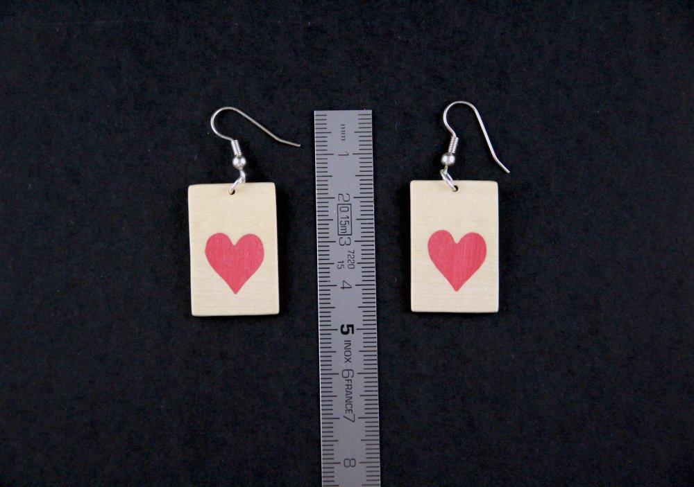 Boucles d'oreilles rectangle COEUR en marqueterie