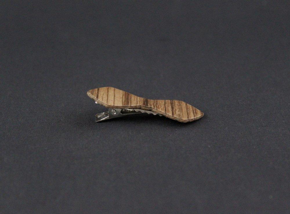 Pince cheveux noeud papillon bois exotique rayé