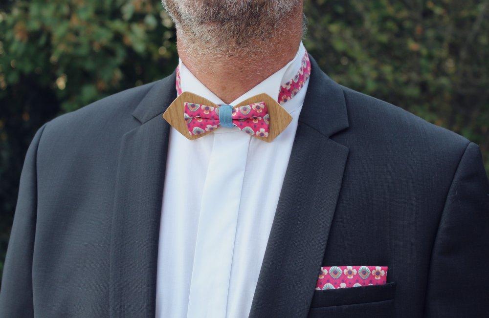 Noeud papillon en bois - Noeud papillon double bois tissu rose foncé fuchsia à motifs