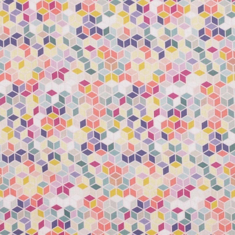 Noeud papillon double bois et tissu multicolore motifs géométriques fil orange