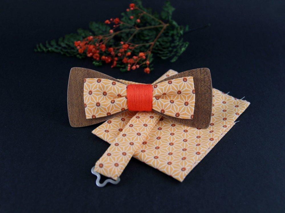 Noeud papillon double bois et tissu étoiles Asanoha orange mandarine