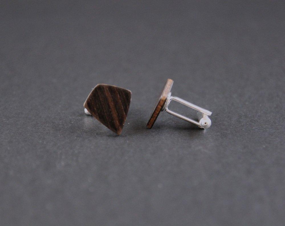 Boutons de manchette losange stylisé en bois noir