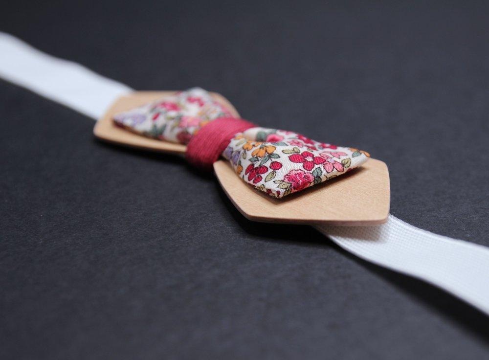 Noeud papillon bois tissu liberty Frou Frou champêtre bordeaux et rose