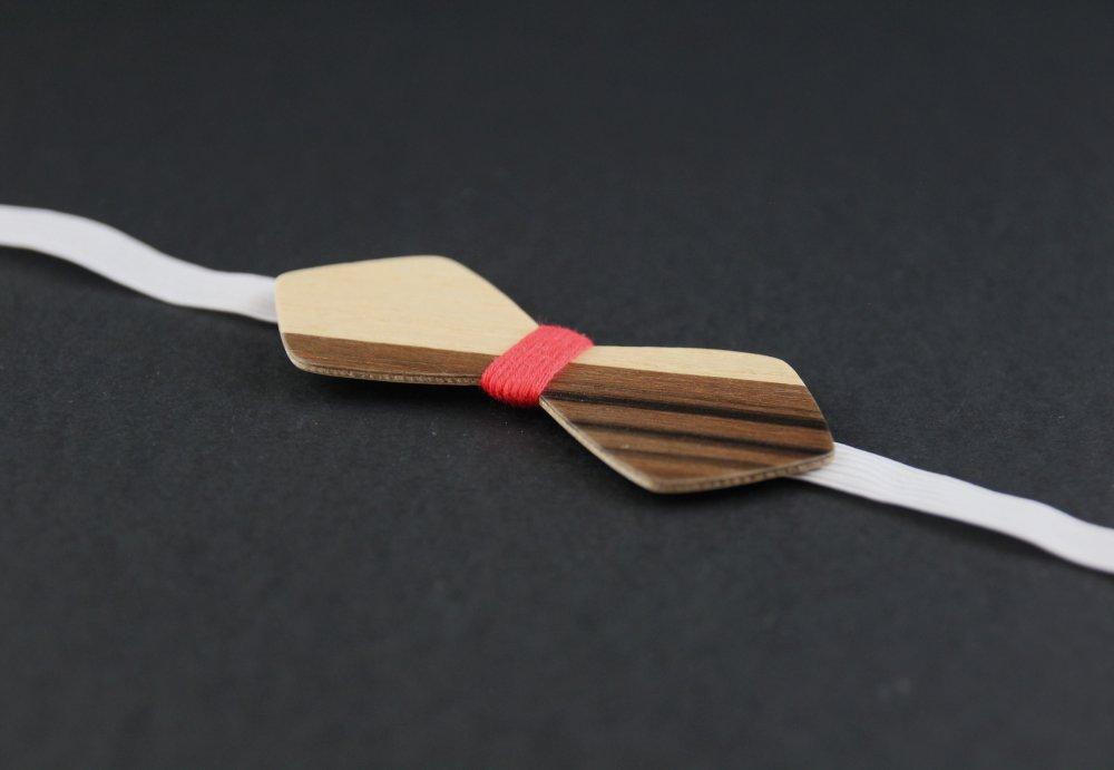 Pour enfant : Noeud papillon garçon en bois bicolore noir et rouge