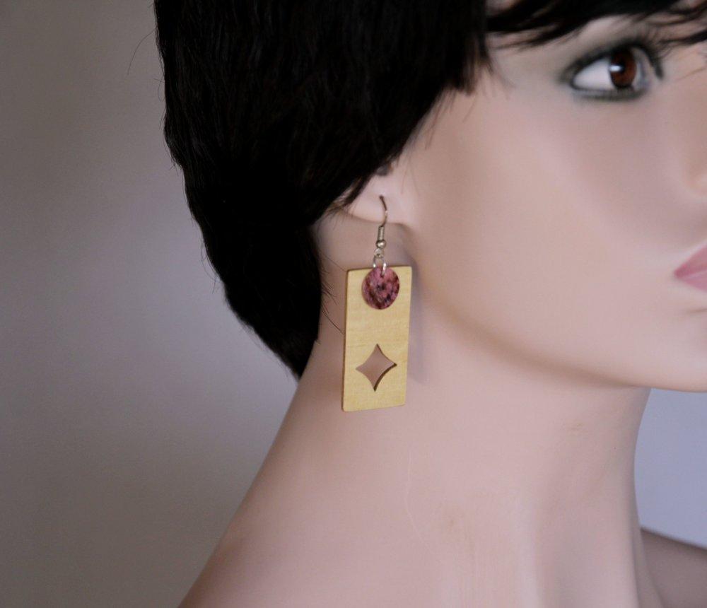 Boucles d'oreille rectangles asymétriques en bois clair - As de COEUR et As de CARREAU