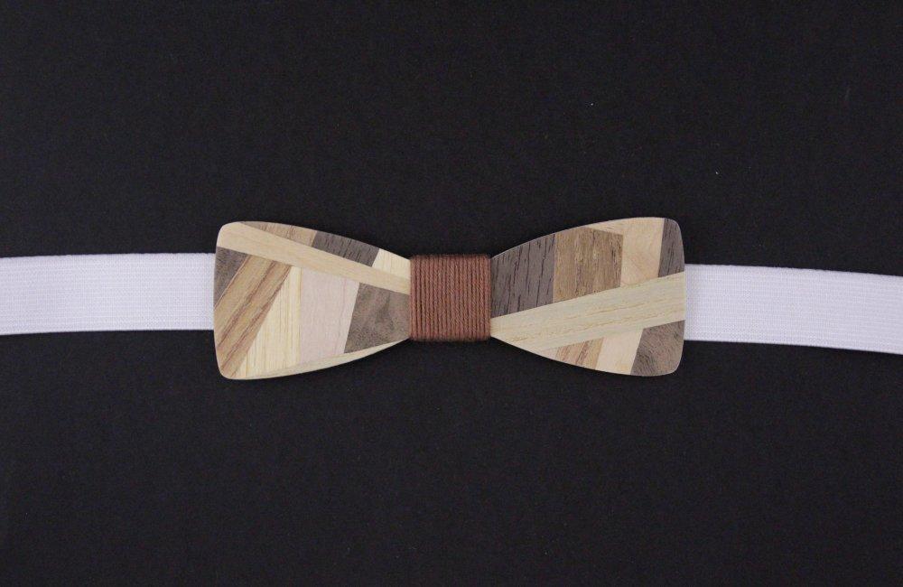 """Réservé : lot noeud papillon bois effet """"patchwork"""" mosaïque de bois homme et bébé"""