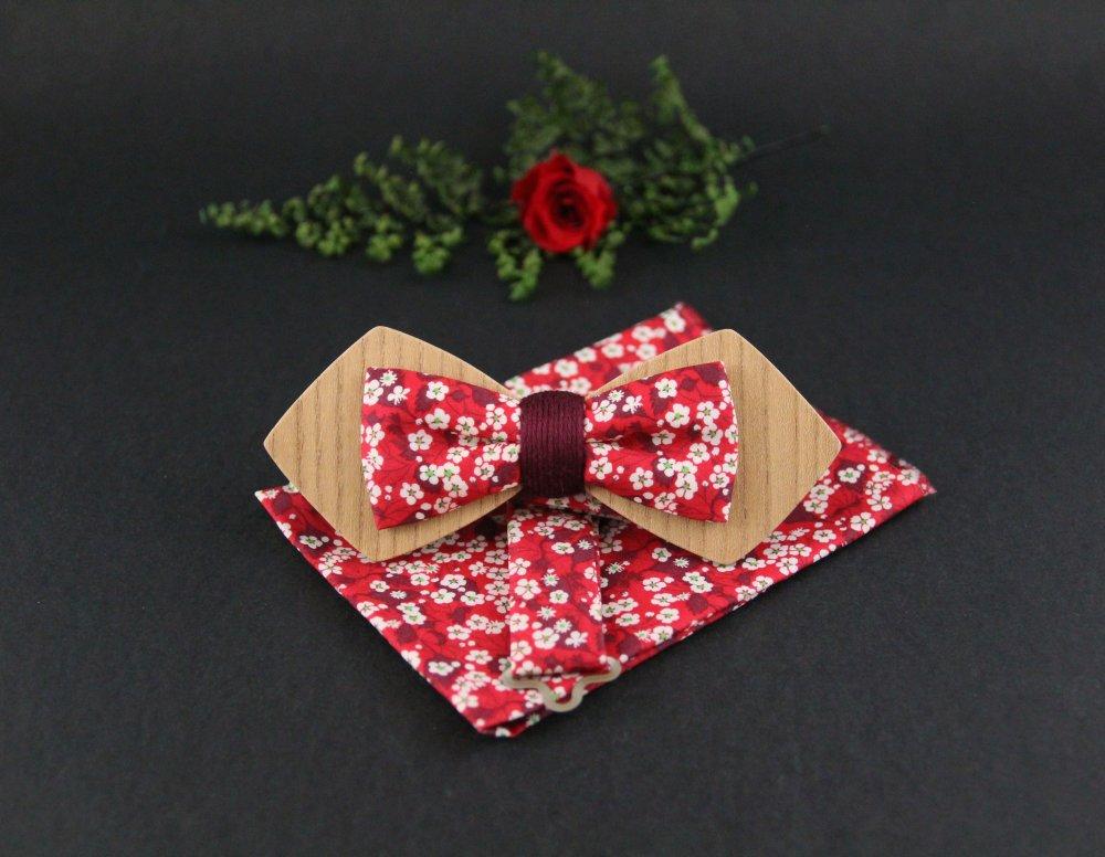 Noeud papillon en bois et tissu liberty anglais Mitsi rouge et bordeaux