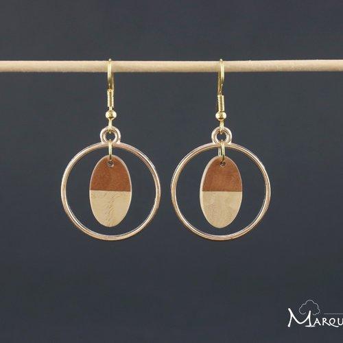 Boucles d'oreille créole en bois ovale bicolore en marqueterie