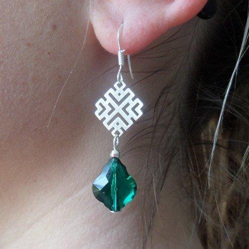 Vert Émeraude Cristal Argent 925 Boucles D/'Oreilles Pendantes