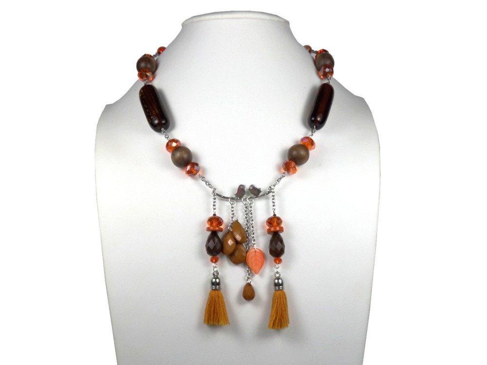 Collier créateur automnal bohème, marron, orange argenté oiseaux et pompons