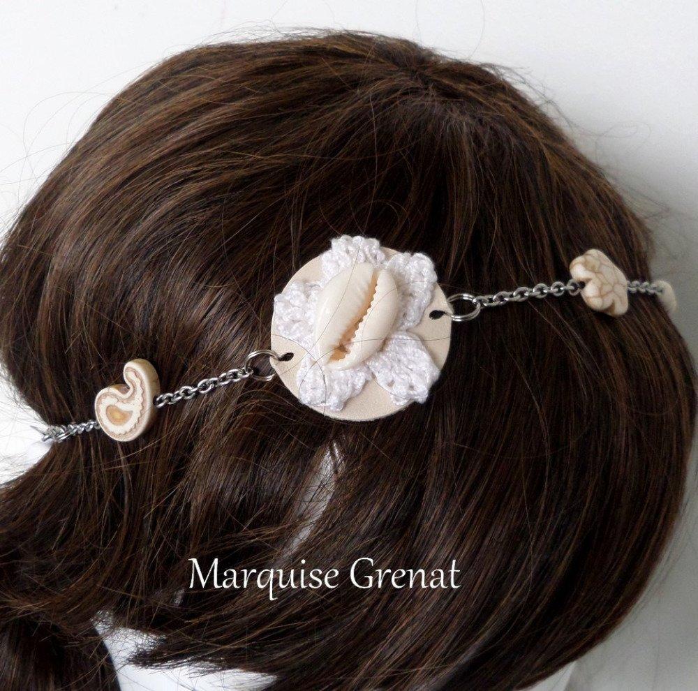 Headband bohème estival écru blanc argenté