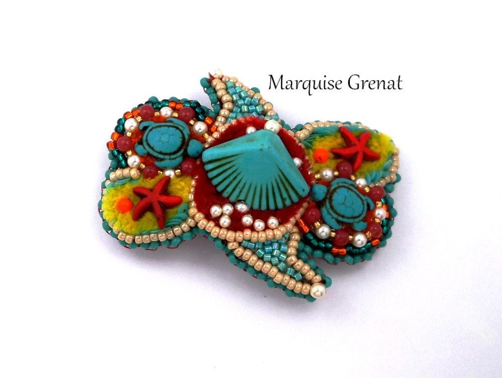 Barrette brodée créateur gipsy turquoise multicolore