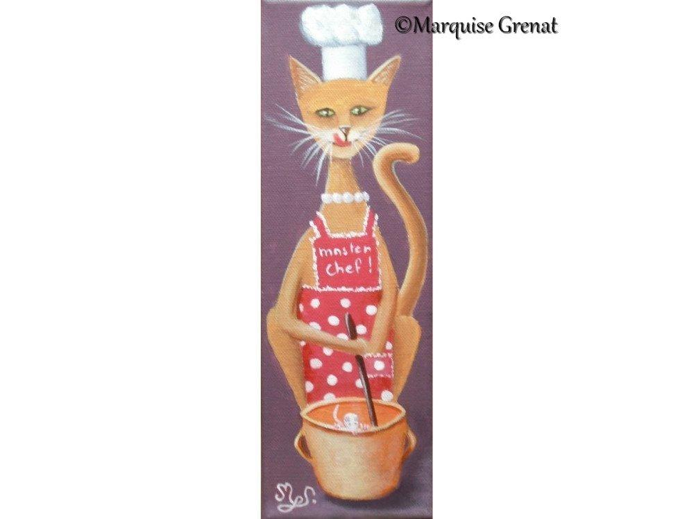Miss Chat Touille, peinture acrylique, tableau déco chambre enfant