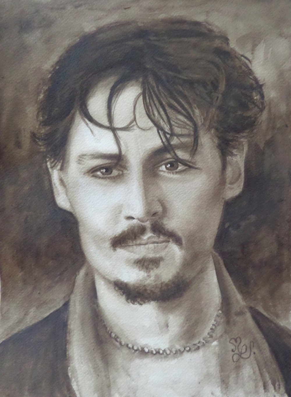 Portrait de Johnny Deep peinture aquarelle dépia